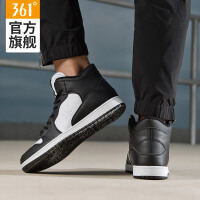 361男鞋高帮运动鞋2018春黑色板鞋361度空军滑板鞋男一号篮球鞋