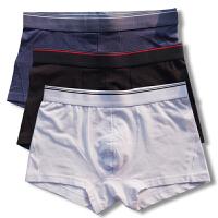 3条装纯棉男士内裤男平角裤头白色黑色中腰四角短裤透气柔软