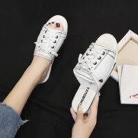 时尚外穿系带拖鞋女 韩版百搭平底单鞋女士学生一字拖鞋 新款系带凉拖鞋女