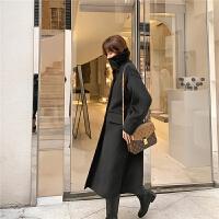 七格格毛呢外套女2019新款冬季黑色韩版宽松气质呢子大衣中长款潮