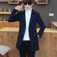 风衣男冬季外套韩版中长款呢子大衣学生披风修身冬天妮子帅气衣服
