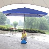 户外遮阳伞折叠四方伞太阳伞方伞大雨伞摆摊广告伞3米定制 +底座