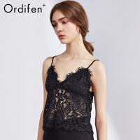 欧迪芬O+商场同款女士薄款蕾丝镂空小背心性感露背吊带装PV8706