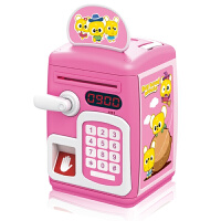 指纹感应解锁密码箱自动卷钱储蓄罐存钱儿童音乐玩具ATM保险柜