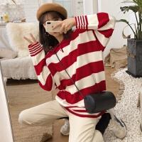 28秋冬新款韩版POLO撞色领条纹宽松慵懒风长袖中长款套头毛衣女 均码