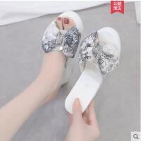 坡跟凉拖鞋女外穿时尚新款ins同款韩版百搭厚底松糕鞋蝴蝶结女鞋