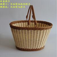 手提篮子筐子购物买菜筐水果礼品篮摘草莓篮塑料仿藤编织
