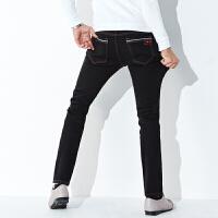 黑色牛仔裤男装秋冬款修身小直筒裤高弹力加大码长裤子冬季加绒裤 黑色