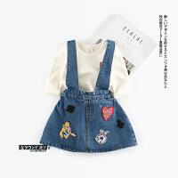 77 秋季新款婴幼儿女童爱心贴标牛仔背带裙