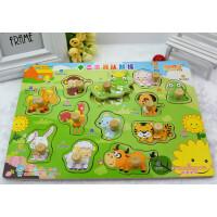幼儿童早教益智手抓板拼图 宝宝动物认知智力开发玩具