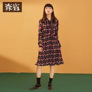 森宿春装2018新款文艺趣味图案收腰格子连衣裙中长款女
