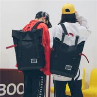 男士双肩包简约帆布百搭书包女学生韩版校园高中学生大容量旅行包