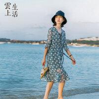 云上生活印花雪纺连衣裙女中长款裙子A字裙女夏L7461