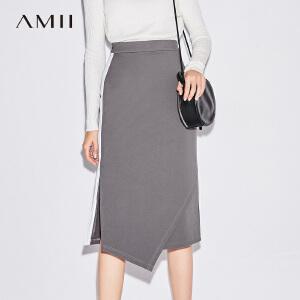 Amii[极简主义]时尚撞色不规则开衩半身裙秋新款修身裙子
