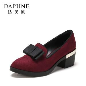 【9.20达芙妮超品2件2折】Daphne/达芙妮 春秋时尚粗跟单鞋蝴蝶结高跟女鞋