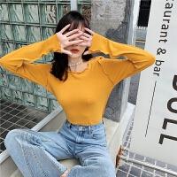 七格格白色t恤女2019新款秋季长袖修身打底衫木耳边韩版短款上衣
