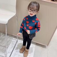 女童冬装新款毛衣针织衫儿童上衣高领保暖毛线衣