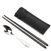 日式便携筷子乌檀木餐具学生随身可折叠伸缩式旅行户外环保筷 旅行餐具折叠筷子 黑色(筷勺袋套装)