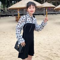 韩版时尚休闲套装春季女装长袖雪纺衫打底衫上衣+连衣裙两件套潮