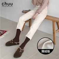 chuu白色加绒加厚牛仔裤高腰显瘦女2019冬季装新款直筒裤百搭裤子