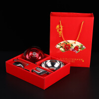 结婚喜碗套装礼盒装创意不锈钢礼品婚礼对碗筷子婚庆用品大 喜结良缘双喜6件套