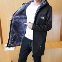 韩版潮流男装秋冬新款男士时尚内里加绒加厚连帽中长款风衣
