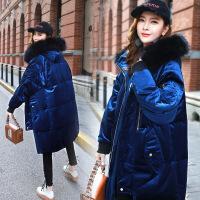 棉衣女中长款2017冬季新款韩版修身系带加厚大码真毛领金丝绒
