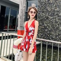 大码泳装小胸韩游泳衣 泳衣女连体裙式遮肚显瘦 红 色