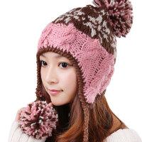 韩版潮毛线帽子女秋冬季滑雪帽子保暖粉色护耳针织帽子