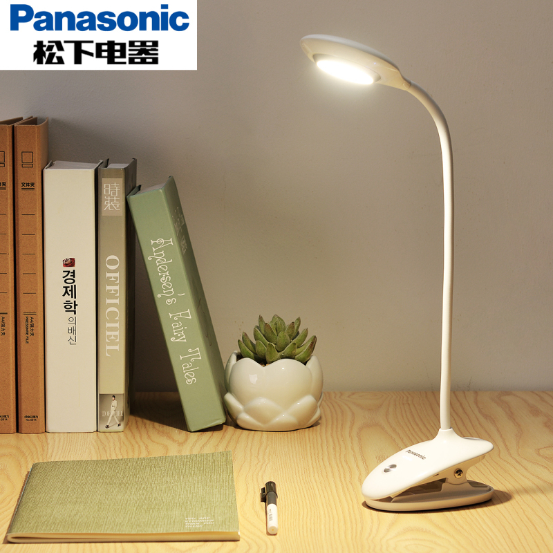 松下LED夹子护眼台灯卧室书桌灯迷你USB充电床头学习阅读宿舍神器