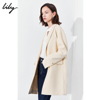 【1/18�_�� 到手�r261元】Lily秋新款女�b金�倏奂�色羊毛大衣微�O型��松毛呢外套1920