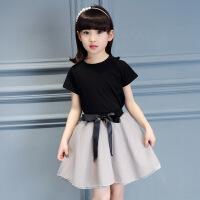 3到4至5女童装6夏天7小女孩子8裙子套装9儿童10夏季衣服装11岁12 黑色