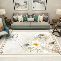 简约新中式地毯中国风茶几垫现代沙发卧室书房家用客厅地毯可机洗 乳白色
