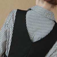 韩版气质修身长袖条纹衬衫百搭时尚三件套套装2017新款女装潮秋冬 图片色