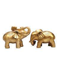念慈阁纯铜招财铜象一对 风水吸水象吉祥物大象摆件新婚礼物 大象一对