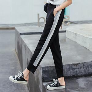 2018新款九分裤百搭侧边条纹束脚裤运动裤高腰宽松薄显瘦女