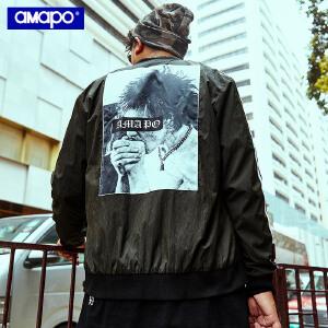 【限时抢购到手价:150元】AMAPO潮牌大码男装秋季胖子加肥加大码嘻哈棒球服夹克肥佬外套男