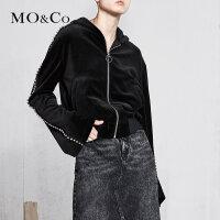 MOCO春季新品镶钻拉链连帽短款绒面外套MA181JKT201 摩安珂
