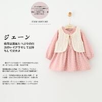 GY1-春童装女童针织马甲蝴蝶结连衣裙套