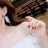 925银针花朵超仙耳环气质长款吊坠耳饰品个性夸张大气耳坠女