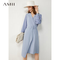 【超品预估价127】Amii极简气质知性长袖连衣裙2020秋新款拼接配腰带条纹修身女裙