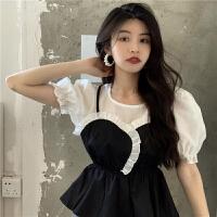 撞色拼接吊带衬衫女2021春夏新款韩版洋气显瘦泡泡袖上衣短款衬衣