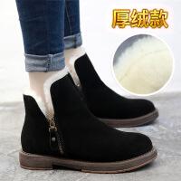 冬季复古马丁靴女英伦风真皮加绒粗跟短靴女内增高棉鞋女靴子