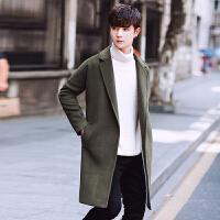 新款秋冬季男士中长款风衣韩版青年潮修身型毛呢大衣帅气呢子外套