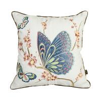 蝴蝶抱枕靠垫美式乡村绣花棉客厅沙发靠背靠包中式靠枕垫刺绣抱枕