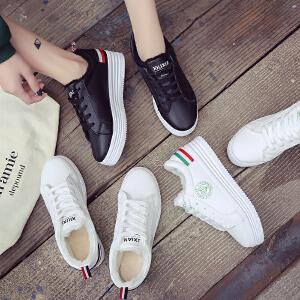 冬季带绒皮面板鞋女生小白鞋冬天加绒保暖加毛休闲运动鞋学生棉鞋
