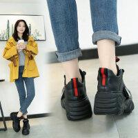 新款原宿松糕鞋女ins运动鞋厚底休闲老爹鞋女韩版增高系带白色板鞋