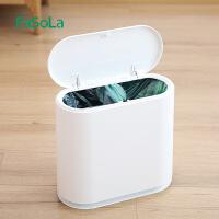 日本家用客厅厨房卧室卫生间分类有盖创意手提按压式垃圾桶 白色