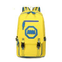 新款双肩包韩版潮背包男学院风学生书包街头女大容量帆布kko 黄蓝色
