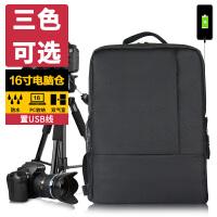相机包USB单反尼康摄影包男女微单双肩包700D750D70D80D 经典黑色 休闲相机包 USB充电